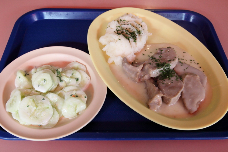 Cucumbers, potatoes, tongue in horseradish sauce, Pyza, Greenpoint, Brooklyn