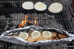 Tortillas and smoked whitefish on the grill, Helsinki Street Eats, North Food Festival, Charles Street, Manhattan