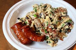 Hangtown fry with kielbasa, Sea Witch, Greenwood, Brooklyn