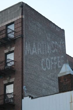Martinson's Coffee, surviving signage (now partially covered), West 205th St, Manhattan