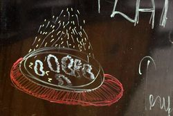 Sizzling platter, hand-drawn signage, Addy's Barbeque, Teaneck, New Jersey