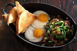 King's Hawaiian toast, fried eggs, and pork belly hash, Noreetuh, First Ave, Manhattan