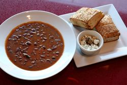 Grosh (kidney bean and smoked beef soup) and accompaniments, Pravue Cafe & Albanian Grill, Ridgewood, Queens
