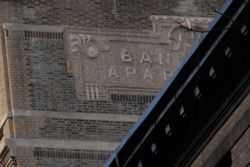 Ban[croft] Apar[tments], surviving signage, Bancroft Hall, West 121st St, Manhattan