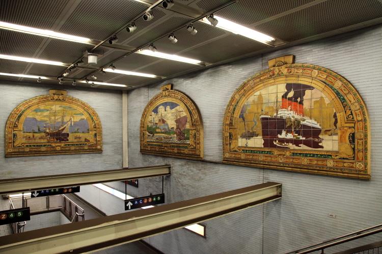 Marine Grill murals (detail; Frederick Dana Marsh, c 1913), Fulton St MTA passageway, Manhattan
