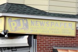 PJ's Newspaper (detail of hand-lettered signage), Maspeth, Queens