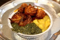 Stew chicken, curry potato, and callaloo, Abegale's, East Flatbush, Brooklyn