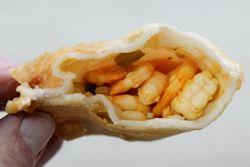 Pastelito filled with shrimp (biteaway view), Pastelitos Elvys, Bushwick, Brooklyn