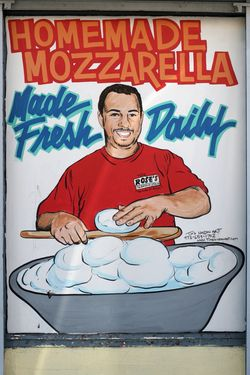 %22Homemade mozzarella made fresh daily%22 at Rose's Italian American Grocery, North Bergen, New Jersey