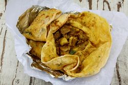 Pork roti, Jenny's Marketplace, Tenth Ave, Manhattan