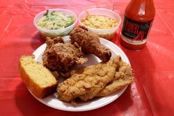 Fried fish and chicken combo, New Hope Community Kitchen, West 126th St, Manhattan