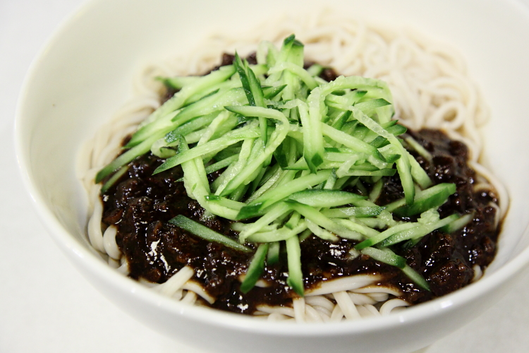 Noodles with minced pork and cucumber, Auntie Guan's Kitchen, West 14th St, Manhattan