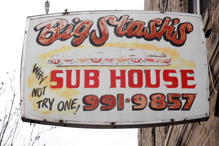 Hand-drawn hanging sign, Big Stash's Sub House, Kearny, New Jersey