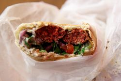Sujuk sandwich (biteaway view), A Taste of Lebanon at Sammy's Gourmet, Madison Ave, Manhattan