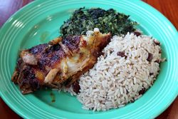 Baked chicken, rice and peas, and coconut creamed spinach, 7 Spices, Williamsbridge, Bronx