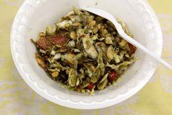 Laphet thoke, fermented tea-leaf salad, New Year celebration of the Light of Dhamma Buddhist Association, Woodside, Queens