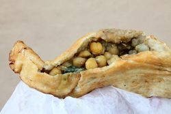 Aloo pie with channa, Singh's Roti Shop & Bar, Richmond Hill, Queens