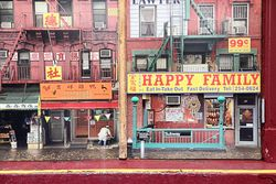 Chinatown photo illustration (detail), The Humans, Helen Hayes Theatre, West 44th St, Manhattan