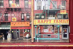 Chinatown photo illustration (detail), The Humans, Helen Hayes Theatre, West 44th St, Manhattan