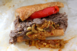 Italian beef sandwich, wet, with hot and sweet peppers, Al's Beef, Chicago