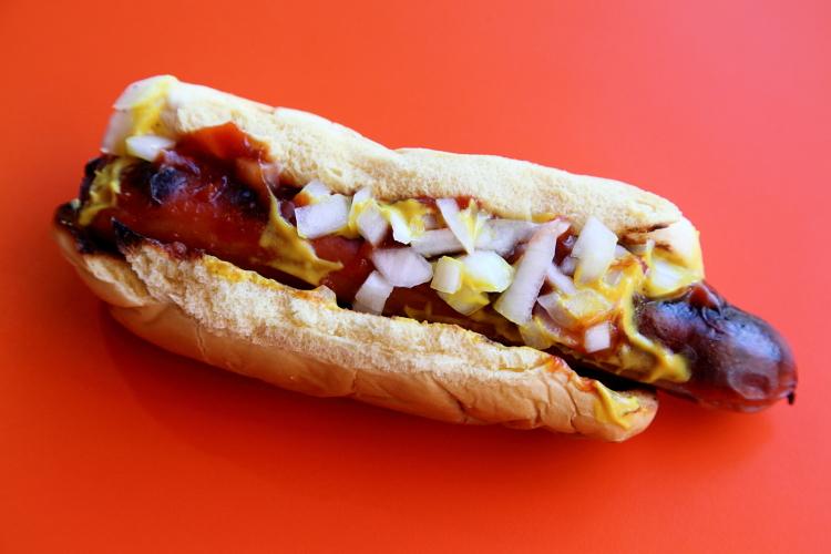 Grilled hot dog, Buffalo's Famous, Flatbush, Brooklyn