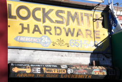 Hand-drawn signage, Around the Clock Locksmith, Rego Park, Queens