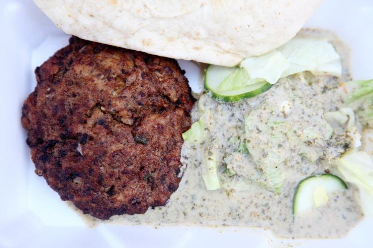 Chapli kebab, Al Rahim Grocery and Halal Meat, Pakistani Independence Day Mela, Kensington, Brooklyn