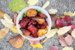 Buffet takeout container in fall colors, Merry Land, Melrose, Bronx