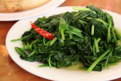 Fried spinach, Cholsum Tibetan Restaurant, Jackson Heights, Queens