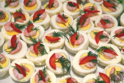 Shrimp-topped eggs on the lunch buffet, Norwegian Seamen's Church, East 52nd St, Manhattan