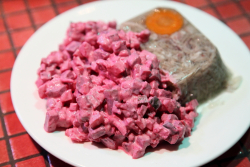 Rosolje (beet salad with herring) and sult (pork in aspic), Estonian Christmas Bazaar, New York Estonian House, East 34th St, Manhattan