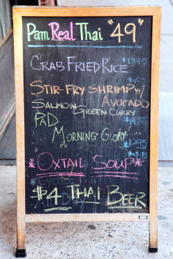 Menu board with code-switching entry for pad morning glory, Pam Real Thai Food, West 49th St, Manhattan