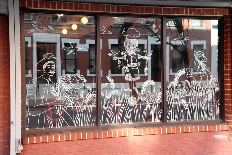 Farming mural (detail), Pam Real Thai Food, West 49th St, Manhattan