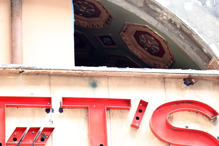 Ceiling decoration on the site of surviving signage for Loft's Candies, Nassau St, Manhattan