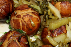 Sour cabbage fry sweet dumplings (aka tang yuan with pickle), Zhun Yi Beef Noodle, Fei Long food court, Sunset Park, Brooklyn