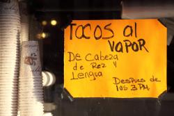 Tacos al vapor de cabeza de res y lengua, Las Conchitas Bakery, Sunset Park, Brooklyn