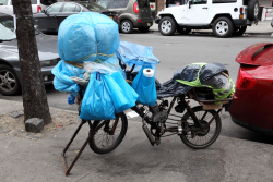 Vendor's cycle under wraps, Jackson Heights, Queens