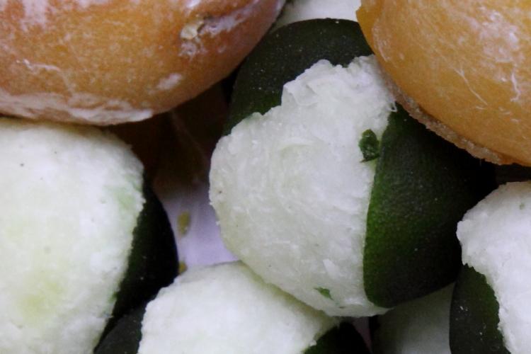Limones rellenos de cocada, candied coconut-stuffed limes, El Popo Mini Market, Jackson Heights, Queens