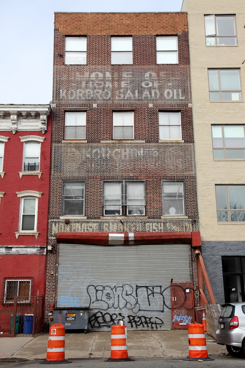Korbro Salad Oil, Korchin Bros, and Montrose Smoked Fish Corp, surviving signage, Williamsburg, Brooklyn