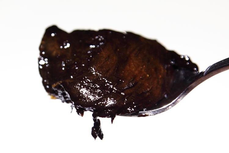 Zapote negro (ripe; scooped flesh)  Fruteria Loma Bonita  Mercado de Coyoacan  Mexico City