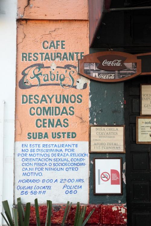 Fabio's signage  including notice of no discrimination  Coyoacan  Mexico City