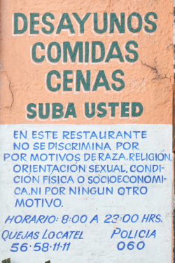 Fabio's signage  including notice of no discrimination  Coyoacan  Mexico City