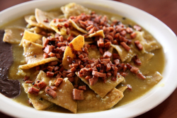 Chilaquiles with kosher salami in salsa verde  Friend's Restaurant (formerly Klein's)  Huixquilucan  Mexico