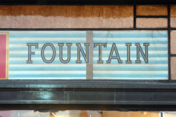 Fountain  surviving signage  the former Wally's Square Root  Clinton Hill  Brooklyn
