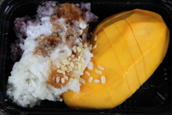 Mango with sticky rice  Songkran festival on Woodside Ave  Elmhurst  Queens