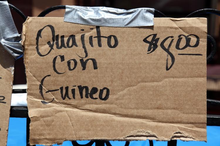 Quajito (cuajito) con guineo)  handwritten sign  116th St Festival  Manhattan