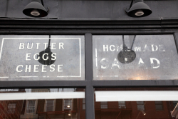 Butter  eggs  cheese  homemade salads  surviving signage  Acme Wines & Spirits  Park Slope  Brooklyn
