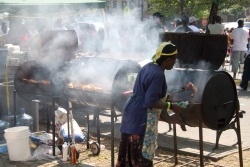 Jerk chicken drums  West Indian Day Parade  Crown Heights  Brooklyn