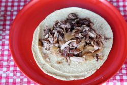 Carnitas taco (as served)  Rincon Tarasco  Mexico City