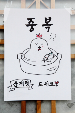 Chicken cradling ginseng  hand-drawn samgyetang artwork  Haewoondae Korean Restaurant  Elmhurst  Queens